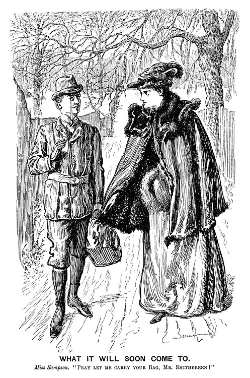 "Figure 1. Illustrated poster. ""Victorian New Woman Cartoon from Punch Magazine."" Circa 1896, insert. Public Domain. Punch Photo Shelter."
