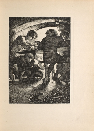 """Rol's Worship."" Wood engraving by Clemence Housman after Laurence Housman's design showing her skill."