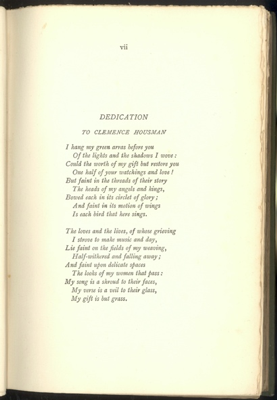 Dedication of Green Arras by Laurence Housman to Clemence Housman (1895)