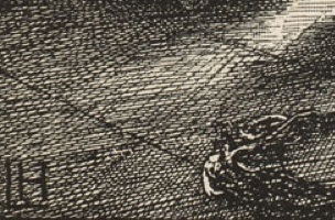 Detail of lower left corner showing the shading effects made by the wood engraver's differently spaced diagonal cuts and gouges.