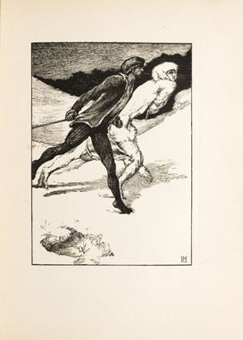 "Laurence Housman, ""The Race,"" showing White Fell as a hybrid woman/animal in the process of transformation"