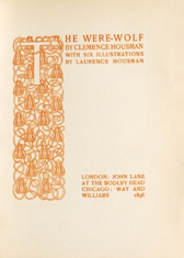 Title-page of The Were-Wolf published by John Lane at The Bodley Head (1896)