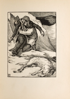 """Swyen's Finding."" Illustration by Laurence Housman showing Sweyn holding his dead brother Christian, with the transformed White Fell a corpse at their feet (1896)"