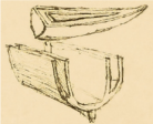 A sketch of a double hull ship, which, as the name implies, has two concentric hulls.