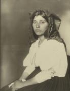 Portrait of Italian Immigrant in Ellis Island facility, c. 1900.