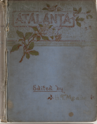 Decorated blue cover of bound Victorian magazine Atalanta
