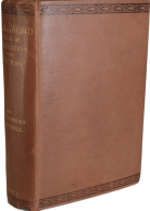 View of brown book cover with black stamped edges and gilt lettering on spine