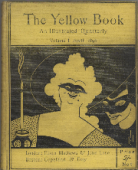 "Front cover of volume 1 of the illustrated periodical ""The Yellow Book."" Published by the Bodley Head in April of the year 1894, the cover is a bright yellow colour and has ""The Yellow Book"" written at the top in large font. There is a picture of two women, one in the foreground and on in the back, who are both wearing masks. The background behind them is black. The woman who is the focus of the image has curly white hair and is smiling. The woman behind her has more of a mischievous expression."