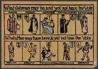 "A photo of a banner which was created at the Suffrage Atelier. It reads: ""What a woman may be, and yet not have the Vote,"" with depictions below of a woman as a mayor, a nurse, a mother, a doctor, a teacher, and a factoryhand, followed by its second line of text: ""What a man may have been, & yet not lose the Vote, with a man depicted as a convict, a lunatic, a proprietor of white slaves, unfit for service, and a drunkard."