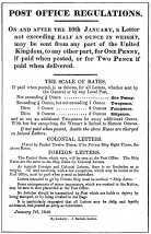 The image of a flyer of the Penny Post Act enacted the January of 1840 by the Post Office.