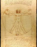 A drawing of da Vinci's Vitruvian Man