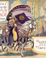"An image of the Official Program Woman Suffrage Procession which shows a woman on a white horse holding a long horn with a banner draped on it that says, ""Votes for Woman"". The image also has the date and location of the procession, Washington D.C. March 3, 1913."