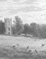 """Hayslope Church,"" etched by J. Henry Hill from a painting by F.T. Merill"