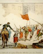 Painting of the Barricade of Place Blanche being defended by women during the Bloody Week