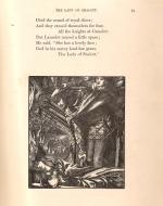 Lancelot gazing down upon the dead Lady of Shalott.