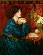 Rossetti, Jane Morris painting Blue Silk Dress
