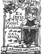 Bookplate for Violet Holden by Celia Levetus