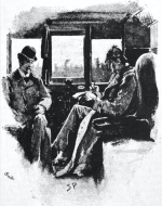 photographic reproduction of watercolour showing two men sitting in a train carriage