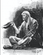 Black and white illustration of Hugh Boone sat on the pavement
