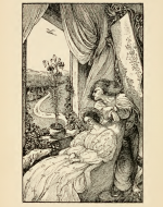 wood engraving of Prince Heron looking out a window & Princess sitting with eyes closed