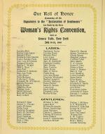 A list of names of people who signed the Declaration of Sentiments