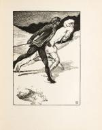 Wood-engraved illustration of White Fell transforming into her were-wolf form as she is chased out onto the snow by Christian.