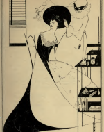 Illustration of Salome by Aubrey Beardsley. Salome is pictured in Victorian dress being groomed by a Pierrot-Harlequin figure in a mask.