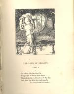Wood-engraved illustration of the Lady of Shalott as the curse comes upon her in her tower room.
