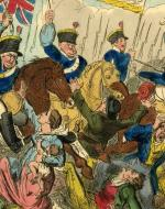 British cavalry soldiers stampeding protesters