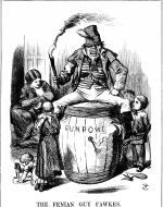 Irish figure portrayed drunk and slovenly sitting atop a powder keg
