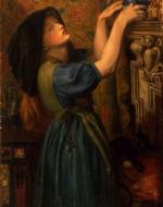 Young girl in a tapestried chamber, with a jar containing marybuds or marsh marigolds, she is arranging them on a shelf. Near her is a cat playing with a ball of worsted.