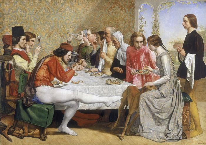 A scene from John Keats' poem 'Isabella', painted in medieval inspired style. Isabella sits at the dining table beside her lover Lorenzo, who looks on her intensely, and opposite her brothers. A lurcher stands with its head in her lap. The brothers wear red while Isabella wears silver. The brother who sits opposite has his leg outstretched across the foreground of the painting with his toes touching the lurcher.