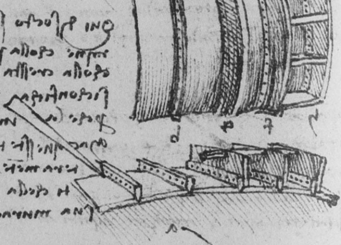 Leonardo da Vinci's sketch representing Verrocchio's metal fusing method for the palla.