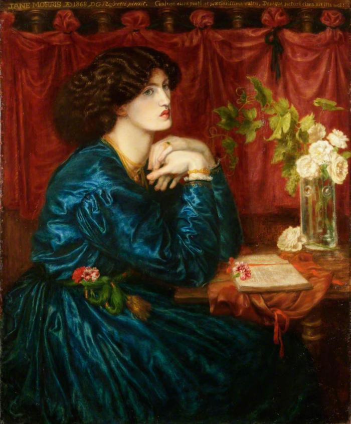 Rossetti, Jane Morris painting Blue Silk Dress