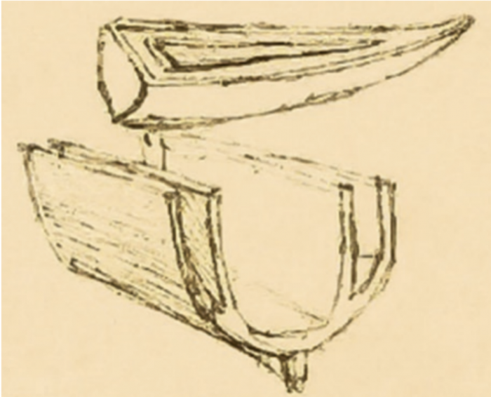 Drawings of DaVinci's double hull design