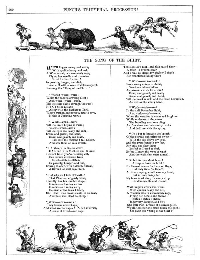 The Song of the Shirt, Thomas Hood, Punch Magazine