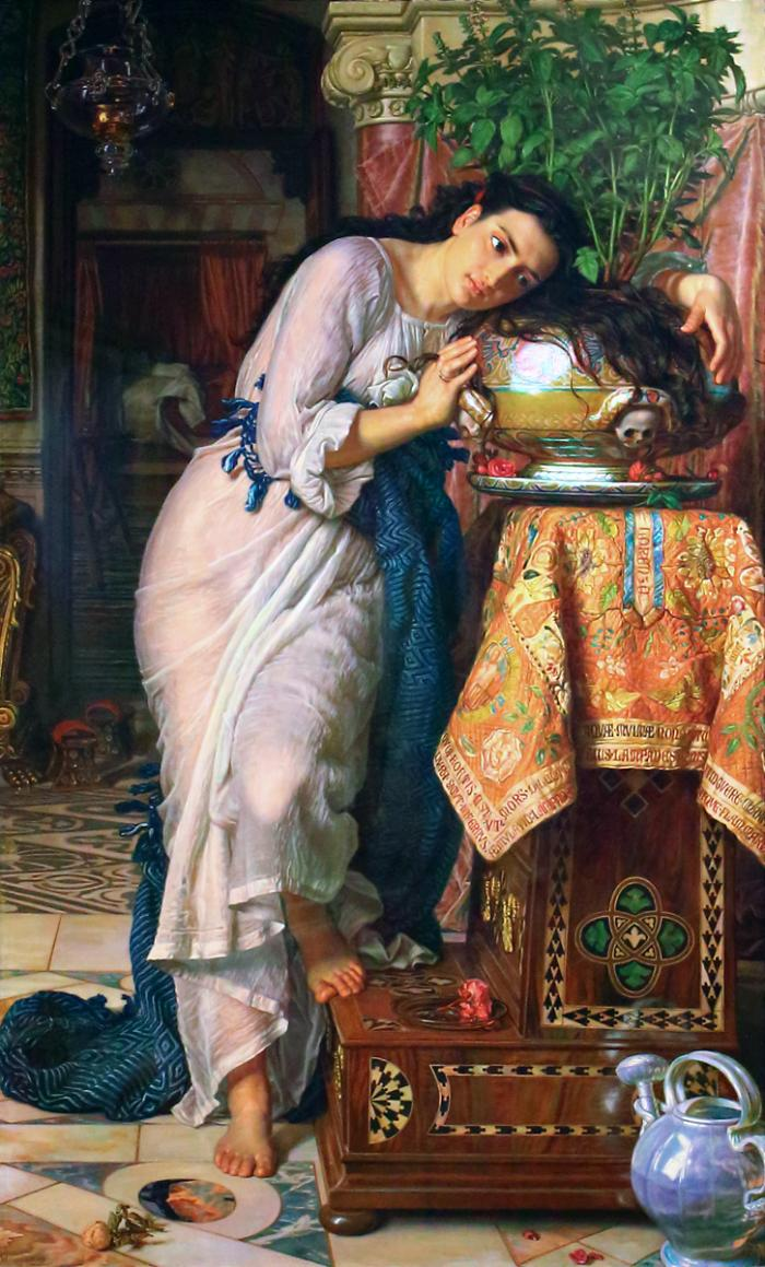 Hunt's painting shows Keats' Isabella leaning toward her pot of basil, with her long dark hair draped over the pot