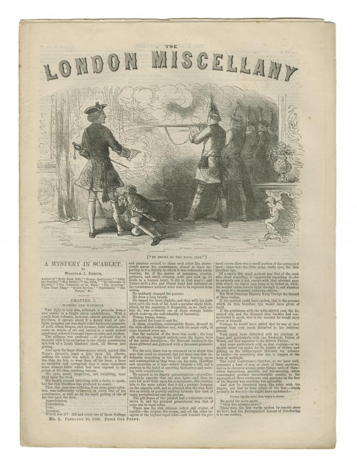 """'By order of the King, Fire!'"" The London Miscellany 1 (10 Feb 1866), 1"