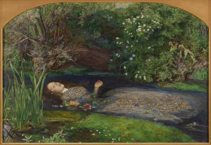 A painting depicting Shakespeare's 'Ophelia' who lay in a lake after dying, surrounded by green vegetation