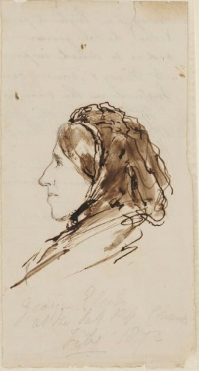 George Eliot, Ink Drawing by Lowes Cato Dickinson (1872)