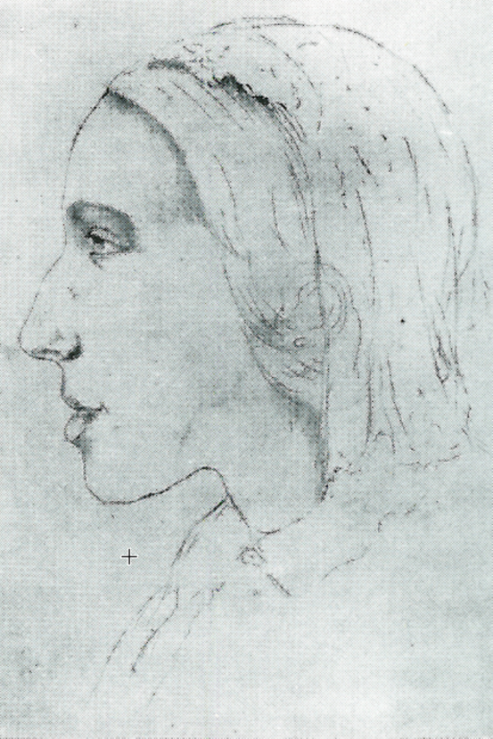 George Eliot, Sketch by Sara Hennell (circa 1847)