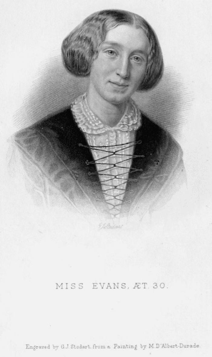 George Eliot, Engraving by G.J. Stodart (1885) (based on the portrait by Durade)