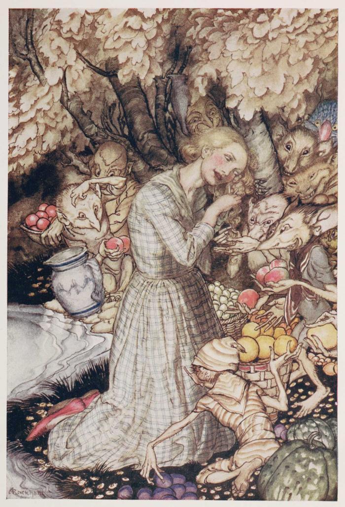Laura gives a lock of hair, Goblin Market, illustrated by Arthur Rackham
