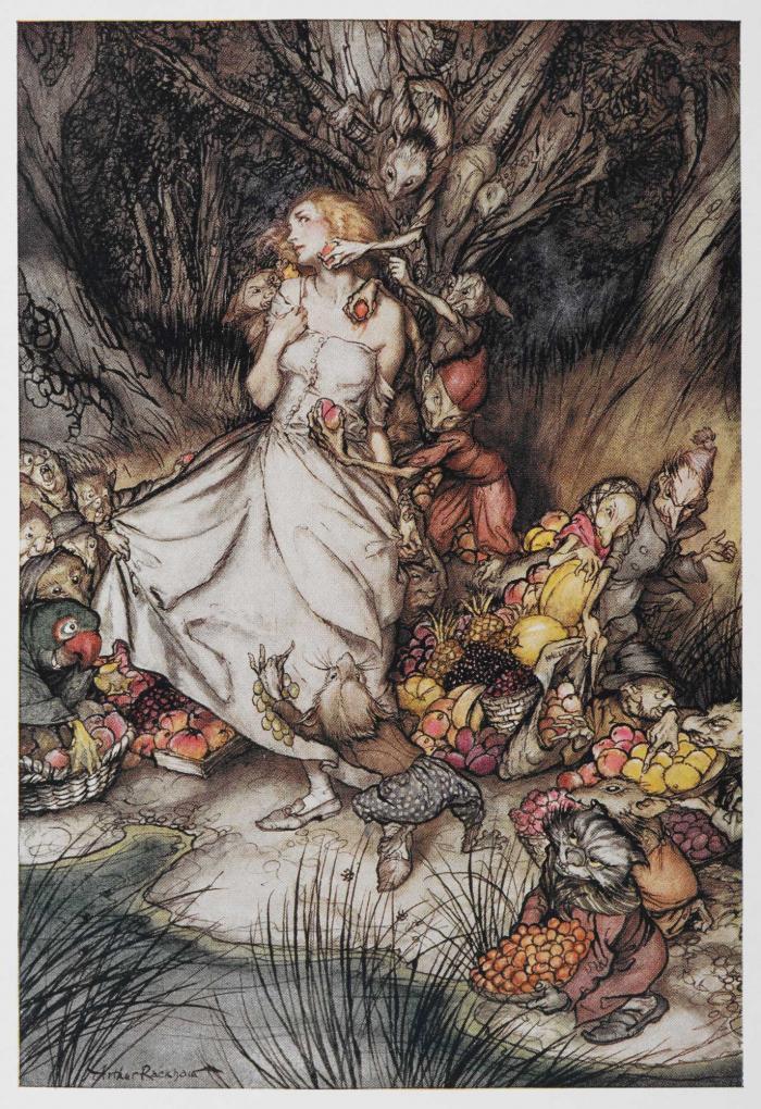 Lizzie Attacked by Goblin Men, Goblin Market illustrated by Arthur Rackham
