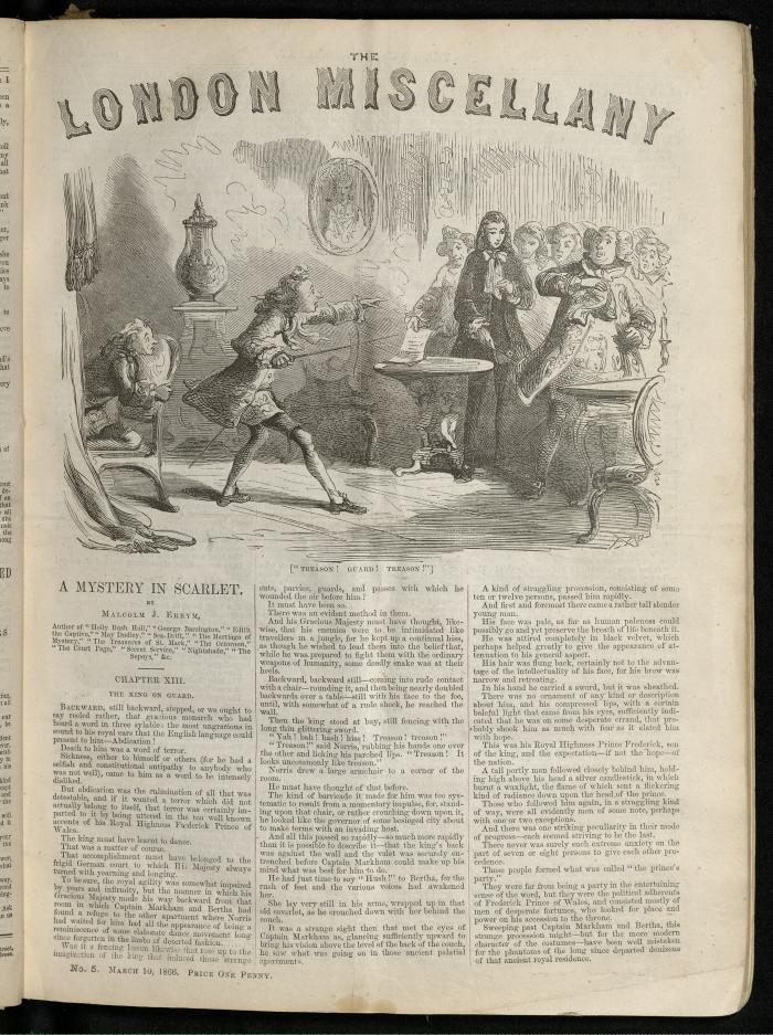 """""""'Treason! Guard! Treason!'"""" The London Miscellany 5 (10 March 1866), 65"""