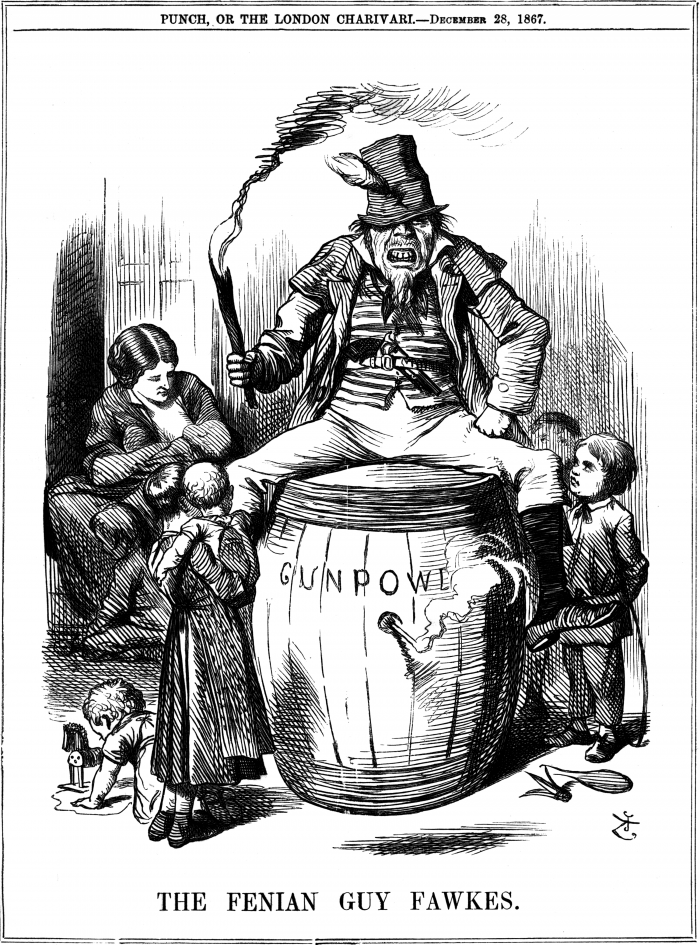 Irish figure portrayed drunk and slovenly sitting atop a powder keg