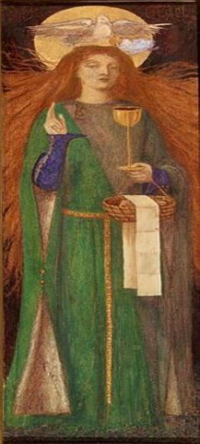 Painting of a grail maiden holding the Eucharistic devices in her left hand. Her right hand is raised. Over her head hovers the white dove of the Holy Spirit. Both have halo of light.