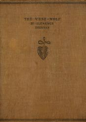 "Brown cloth book cover stamped in black lettering with a decorative pomegranate device beneath. The black lettering, centered halfway between the top and middle of the cover, says ""The Were-Wolf By Clemence Housman"" in capital letters."
