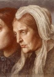 Drawing in coloured chalk of Frances and Christina Rossetti in three-quarter profile.