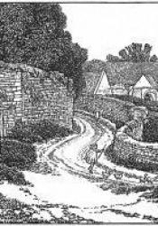 Wood-engraved scene of walled winding road with rooftops in distance